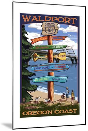 Waldport, Oregon - Sign Destinations #2-Lantern Press-Mounted Art Print
