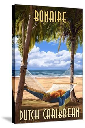 Bonaire, Dutch Caribbean - Hammock and Palms-Lantern Press-Stretched Canvas Print