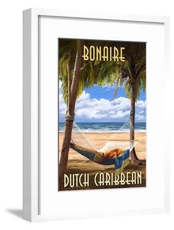 Bonaire, Dutch Caribbean - Hammock and Palms-Lantern Press-Framed Art Print