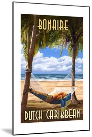 Bonaire, Dutch Caribbean - Hammock and Palms-Lantern Press-Mounted Art Print