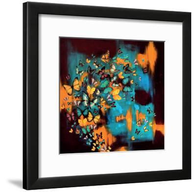 Butterflies on Warm Ochre-Lily Greenwood-Framed Giclee Print