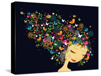 Beautiful Women - Abstract Hair Illustration-cienpies-Stretched Canvas Print