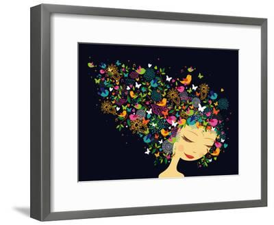 Beautiful Women - Abstract Hair Illustration-cienpies-Framed Premium Giclee Print