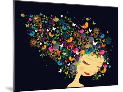 Beautiful Women - Abstract Hair Illustration-cienpies-Mounted Premium Giclee Print