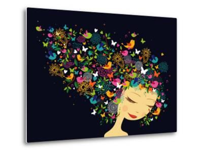 Beautiful Women - Abstract Hair Illustration-cienpies-Metal Print