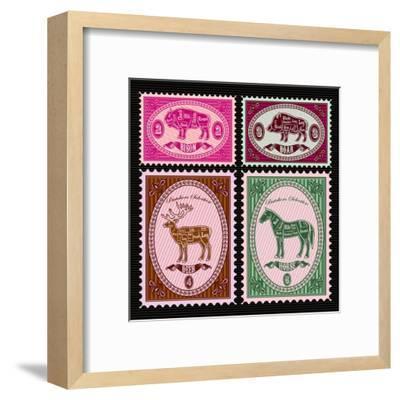 Set of Vector Postage Stamps with Boar, Bison, Deer, Horse-111chemodan111-Framed Art Print