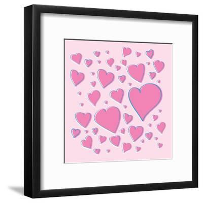 Vector Pink Hearts-skoo-Framed Art Print