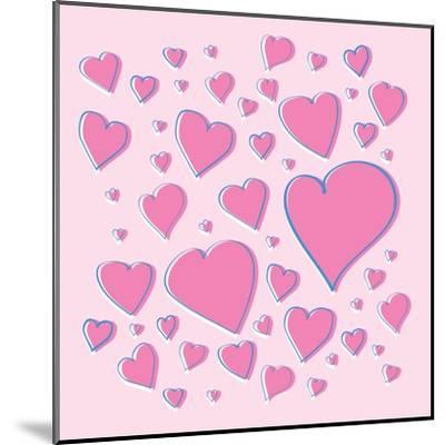 Vector Pink Hearts-skoo-Mounted Art Print