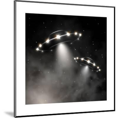 Ufo in Fog-_Lonely_-Mounted Art Print