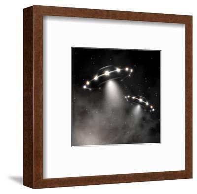 Ufo in Fog-_Lonely_-Framed Art Print