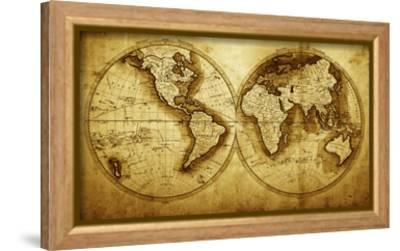 Antique Map Of The World (Circa 1711 Year)-Oleg Golovnev-Framed Stretched Canvas Print