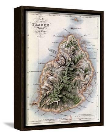 "Map of Mauritius, Illustration from ""Paul et Virginie"" by Henri Bernardin de Saint-Pierre, 1836-A^h^ Dufour-Framed Stretched Canvas Print"