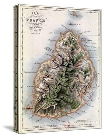 """Map of Mauritius, Illustration from """"Paul et Virginie"""" by Henri Bernardin de Saint-Pierre, 1836-A^h^ Dufour-Stretched Canvas Print"""