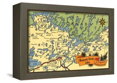 Map of Minnesota Border Lakes--Framed Stretched Canvas Print