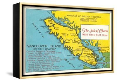 Map of Vancouver Island, British Columbia--Framed Stretched Canvas Print