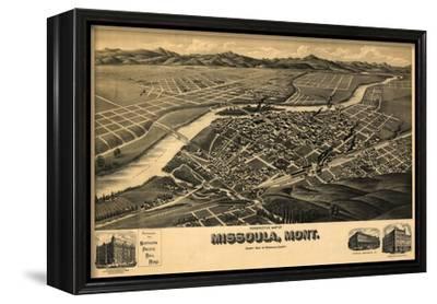 Montana - Panoramic Map of Missoula No. 2-Lantern Press-Framed Stretched Canvas Print
