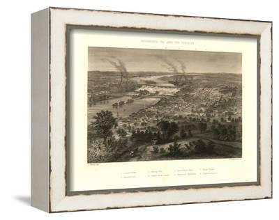 Richmond, Virginia - Panoramic Map-Lantern Press-Framed Stretched Canvas Print