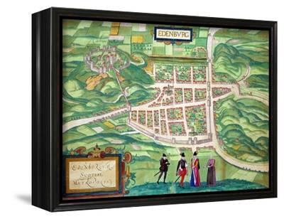 "Edinburgh Map, from ""Civitates Orbis Terrarum"" by Georg Braun and Frans Hogenberg circa 1572-1617-Joris Hoefnagel-Framed Stretched Canvas Print"