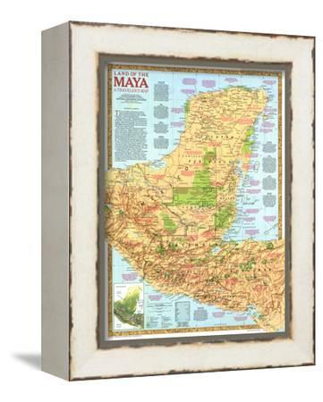 1989 Land of the Maya Map-National Geographic Maps-Framed Stretched Canvas Print