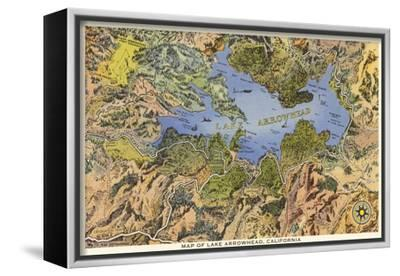 Map of Lake Arrowhead, California--Framed Stretched Canvas Print