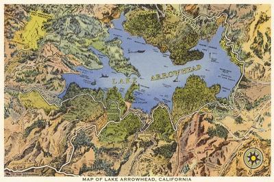 Map of Lake Arrowhead, California--Stretched Canvas Print