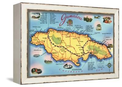 Map of Jamaica--Framed Stretched Canvas Print