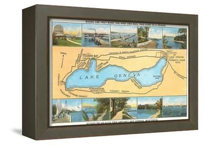 Map of Lake Geneva, Wisconsin--Framed Stretched Canvas Print