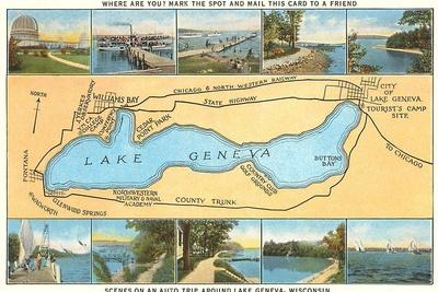 Map of Lake Geneva, Wisconsin--Stretched Canvas Print