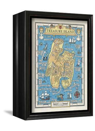 Map of Treasure Island-Monro S^ Orr-Framed Stretched Canvas Print