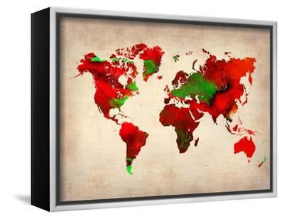 World Watercolor Map 4-NaxArt-Framed Stretched Canvas Print