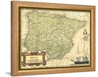 Spain Map-Vision Studio-Framed Stretched Canvas Print
