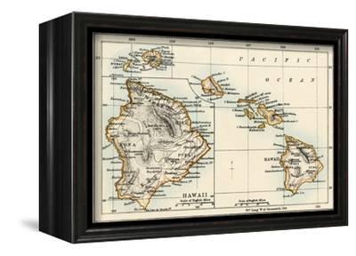 Map of the Hawaiian Islands, 1870s--Framed Stretched Canvas Print