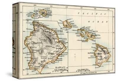 Map of the Hawaiian Islands, 1870s--Stretched Canvas Print