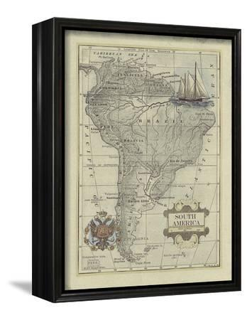 Antique Map of South America-Vision Studio-Framed Stretched Canvas Print
