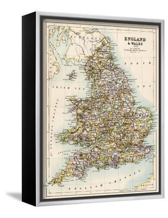 Map of England and Wales, 1870s Stretched Canvas Print by | Art com