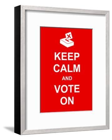 Keep Calm and Vote On-prawny-Framed Art Print