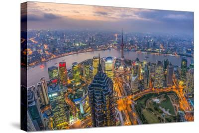 China, Shanghai, View over Pudong Financial District, Huangpu River Beyond-Alan Copson-Stretched Canvas Print