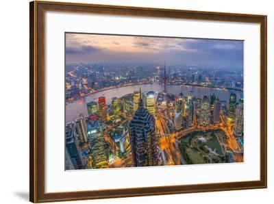 China, Shanghai, View over Pudong Financial District, Huangpu River Beyond-Alan Copson-Framed Photographic Print