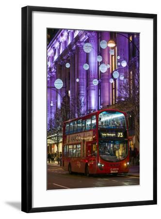 England, London, Soho, Oxford Street, Chirstmas Decorations and London Bus-Walter Bibikow-Framed Photographic Print