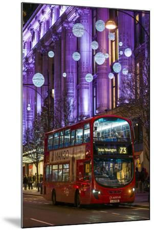 England, London, Soho, Oxford Street, Chirstmas Decorations and London Bus-Walter Bibikow-Mounted Photographic Print