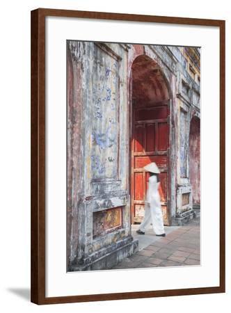 Woman Wearing Ao Dai Dress at Dien Tho Inside Citadel, Hue, Thua Thien-Hue, Vietnam (Mr)-Ian Trower-Framed Photographic Print