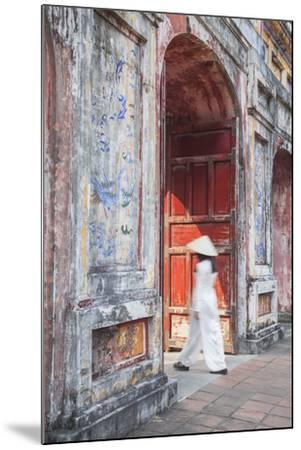 Woman Wearing Ao Dai Dress at Dien Tho Inside Citadel, Hue, Thua Thien-Hue, Vietnam (Mr)-Ian Trower-Mounted Photographic Print