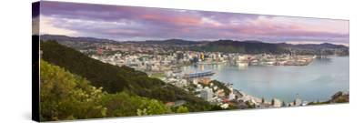 Elevated View over Central Wellington Illuminated at Sunrise, Wellington, North Island, New Zealand-Doug Pearson-Stretched Canvas Print
