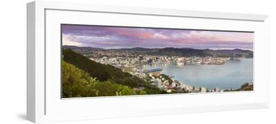 Elevated View over Central Wellington Illuminated at Sunrise, Wellington, North Island, New Zealand-Doug Pearson-Framed Photographic Print