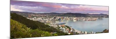 Elevated View over Central Wellington Illuminated at Sunrise, Wellington, North Island, New Zealand-Doug Pearson-Mounted Photographic Print