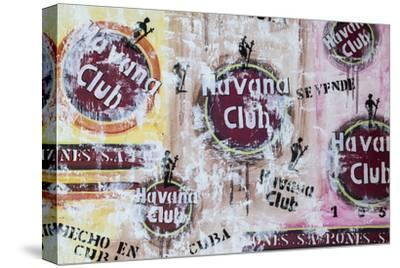Cuba, Trinidad, Havana Club Painted on Wall of Bar in Historical Center-Jane Sweeney-Stretched Canvas Print
