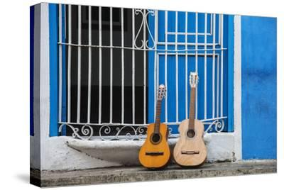 Santiago De Cuba Province, Historical Center, Calle Heredia, Guitars by Balcony-Jane Sweeney-Stretched Canvas Print