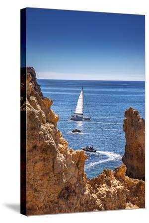 Sailing Boat, Ponta De Piedade, Lagos, Algarve, Portugal-Sabine Lubenow-Stretched Canvas Print