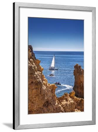 Sailing Boat, Ponta De Piedade, Lagos, Algarve, Portugal-Sabine Lubenow-Framed Photographic Print