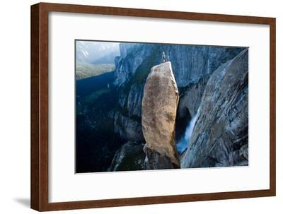 A Climber on Top of the Lost Arrow Spire in Yosemite National Park, and His Partner Far Below-Ben Horton-Framed Photographic Print